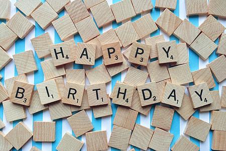 Happy Birthday scrabble cubes