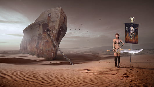 female computer game character standing beside shipwreck in desert
