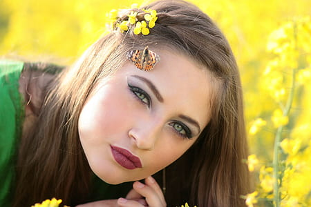girl, butterfly, camp, flowers, yellow, beauty