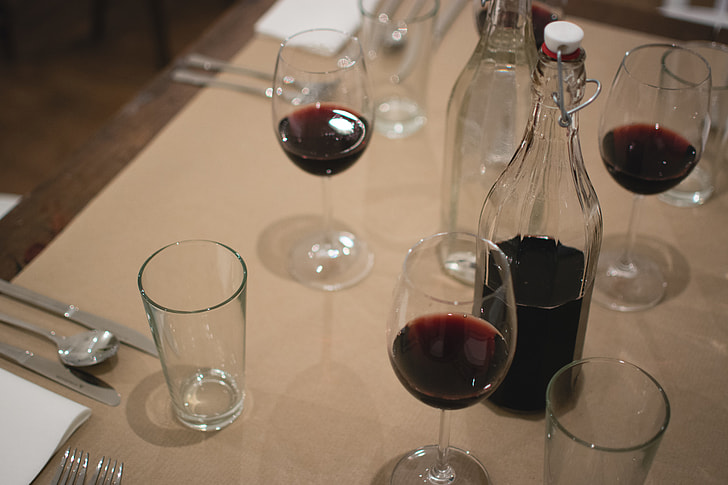 Red wine on a table