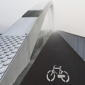 bridge, structure, urban, bike, sign