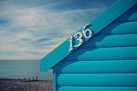 Close-up shot of a blue beach hut on the Kent Coast in the South of England