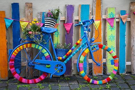blue and multicolored beach cruiser bike