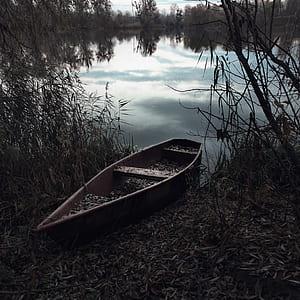 brown canoe beside body of water