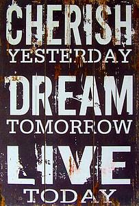 cherish yesterday decorative quote