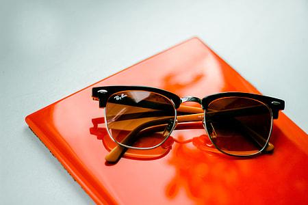 Sunglasses sitting on office table