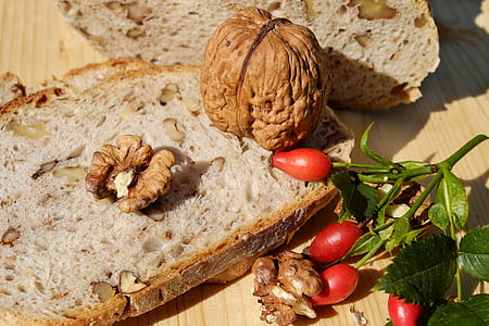 walnut on top of bread