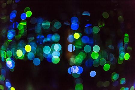 blue and green bokeh lights