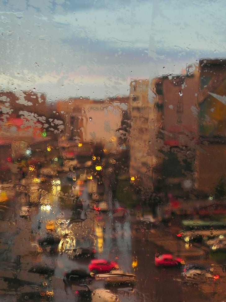 Cars on a Street during a Rainy Day
