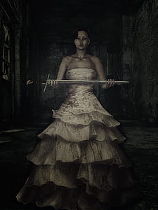 3D illustration of a woman in white dress holding a sword