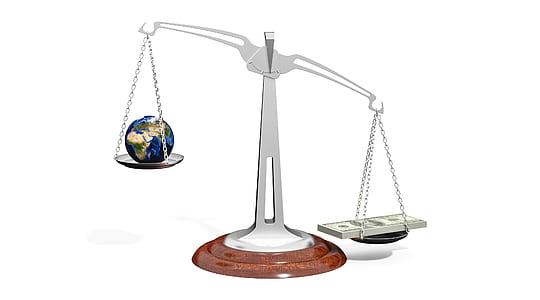 money on manual scale illustration