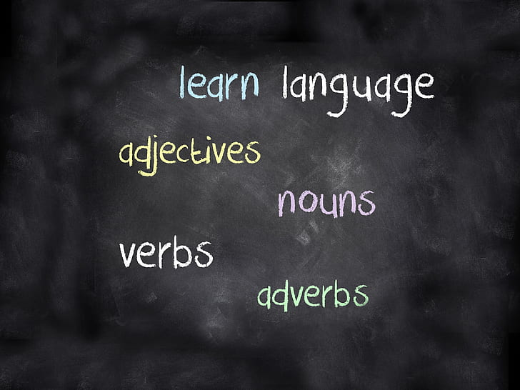 white learn language on black board