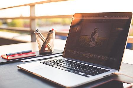 Outdoor Garden Office Working Desk With Laptop