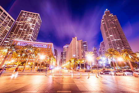 Buildings In Front of San Francisco Ferry Building At Night