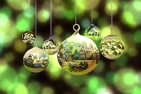 six gold Christmas balls