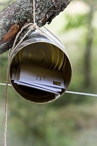 silver tin can mail box