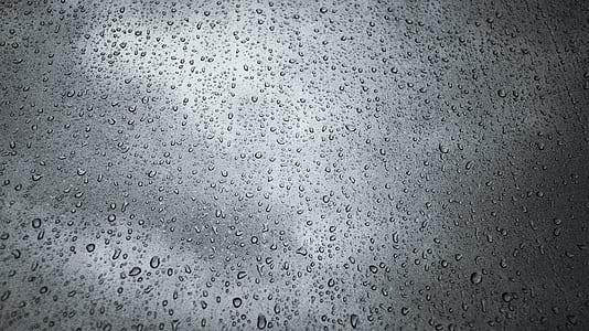 raindrops, cloud, window, non, moist, trickle