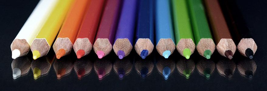 assorted-color pencil lot closeup photo
