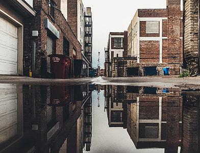 water on gray asphalt road beside buildings