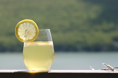 lemon on drinking glass