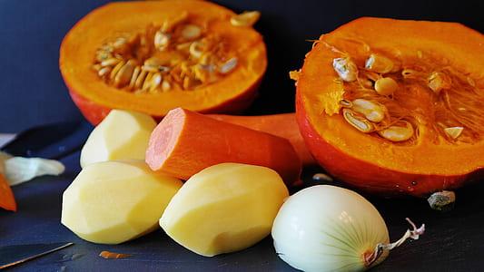 potato, carrots, onion and squash