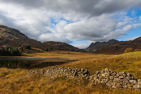 Wide angle landscape shot captured at Blea Tarn in the Lake District, Cumbria, England