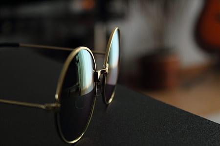 Gold Frame Black Lens Eyeglasses