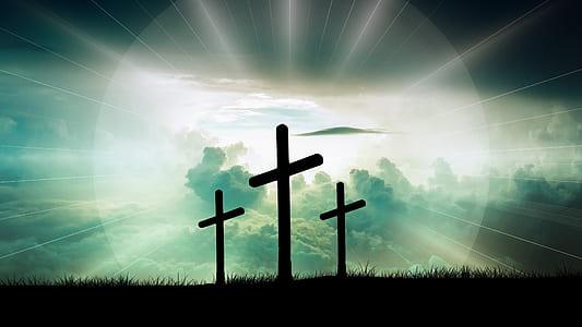 silhouette of three cross