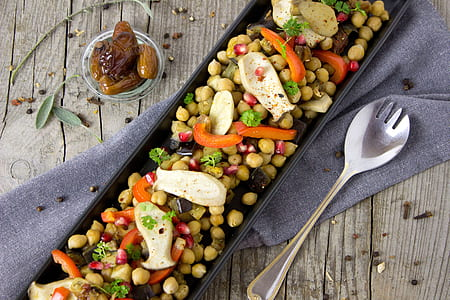 assorted vegetables on black plate