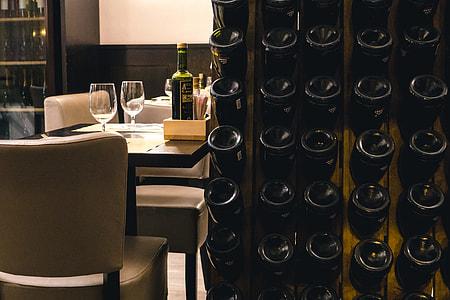 Table at a wine bar
