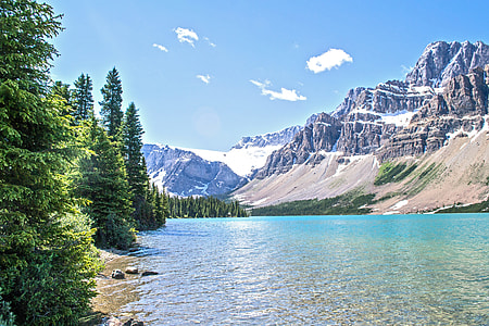 body of water surrounded by trees and mountain