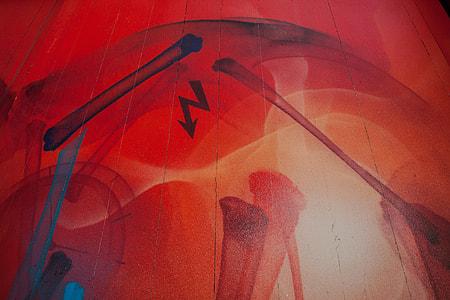 Close-up texture detail of a piece of street art