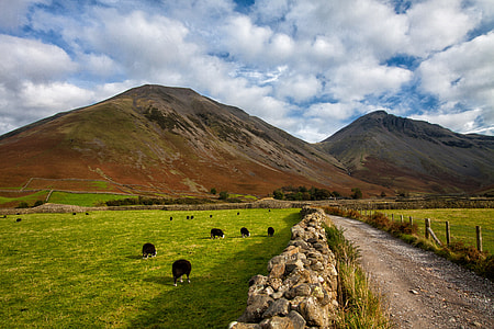 Wide angle landscape shot captured in the hills of the Lake District National Park in Cumbria, England