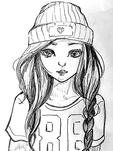 girl wearing knit cap sketch portrait