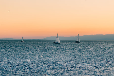 Sailboats on Water Sunset