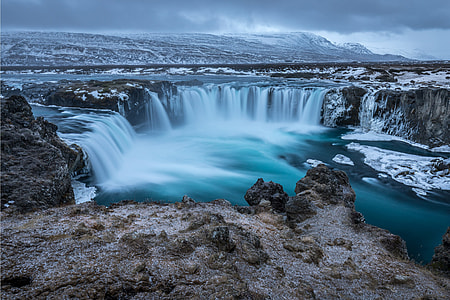 Waterfalls and winter snow in Iceland