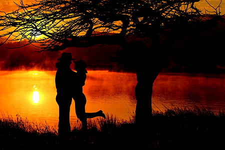 silhouette photo of couple hugging near body of water