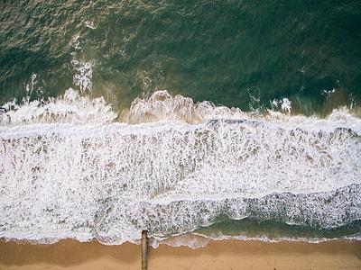 blue beach seashore top view photo taken during daytime