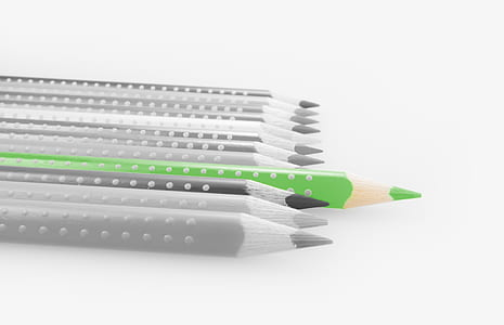 selective color green pencil