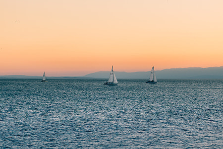 Sea Sail Boats Sunset
