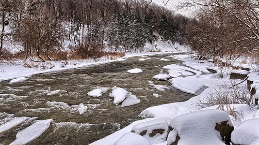 River Beside White Snow during Daytime
