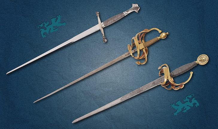 three assorted swords