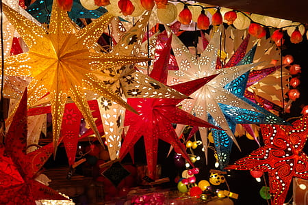 assorted-color lighted Christmas lanterns at nighttime