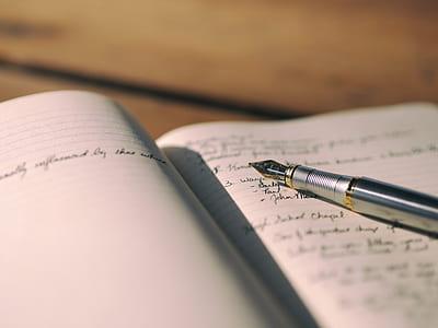 silver-colored fountain pen