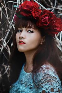 woman, female, portrait, asian, crown, flower crown