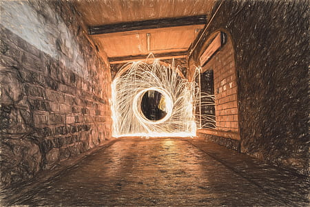 Sparks in Tunnel during Daytime in Time Lapse Photography