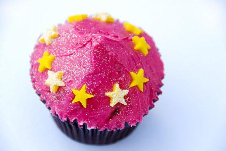 pink star coated cupcake