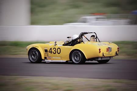 car, vehicle, yellow, racing car, sports car