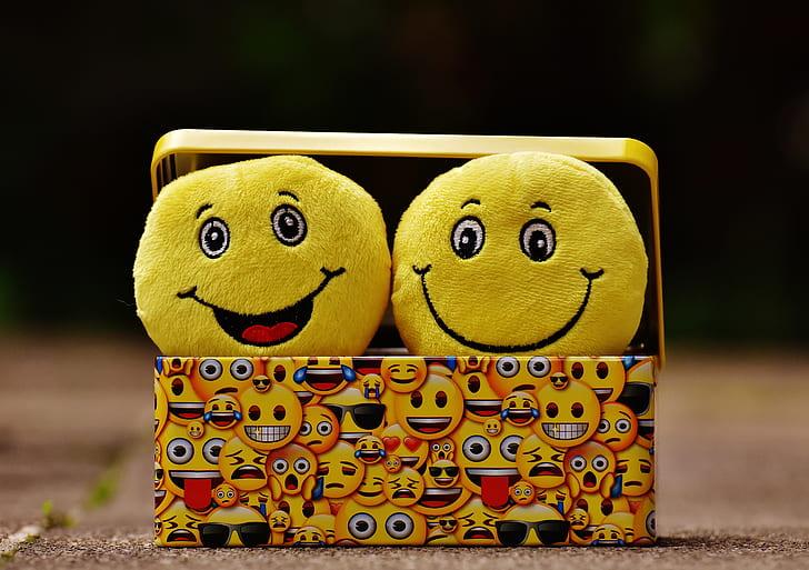 two emoji plush toys on emoji print case