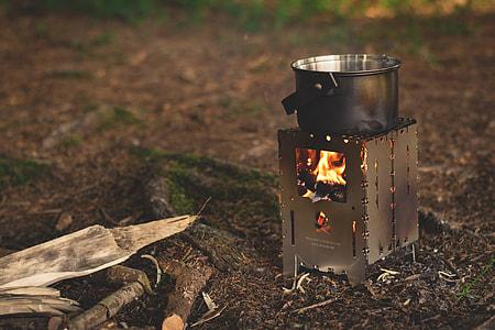 gray burner stove and cooking pot